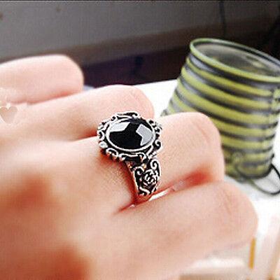 Fashion New Girls Crystal Retro Women Black Gem Ring Magic Mirror 18.5mm