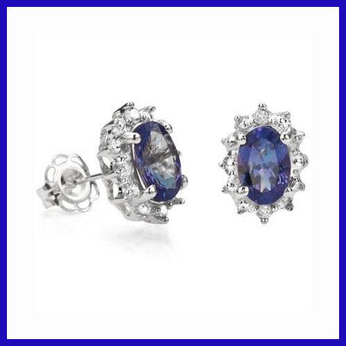 Paire de .79 CT POIDS TOTAL Tanzanite /& Diamant Boucles D/'oreille Argent sterling 925 NEUF