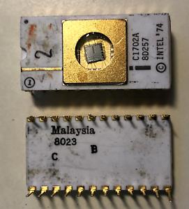 Vintage-Intel-C1702A-2048-Bit-256-x-8-EPROM-Ceramic-white-with-gold-RARE