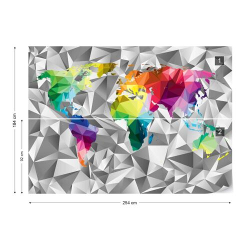 Modern 3D Colourful World Map Photo Wall Mural Fleece Easy-Install Paper