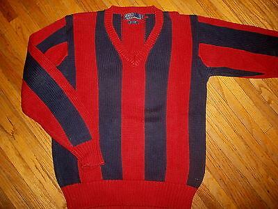 Gut Vtg 90er Jahre Ralph Lauren Polo Pullover V-ausschnitt Rot Blau Streifen Grob