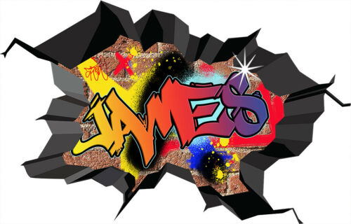 Graffiti Personalized Custom Name 3D Hole Smashed Wall Sticker Decal Mural WC76