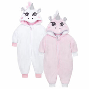 21000e9d4 Baby Unicorn Sleepsuit Pram Suit White Pink Warm All in One Novelty ...