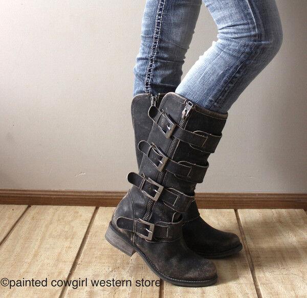 Círculo G por Corral Mujer Negro Envejecido Envejecido Envejecido correas, hebillas botas Con Cremallera & P5079  Venta al por mayor barato y de alta calidad.