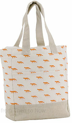 Vintage Fox Canvas Eco Shopping Shopper Tote Bag Woodland Fabric Chic Shabby