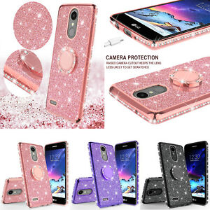 For-LG-Stylo-4-Stylo-4-Plus-Cute-Ring-Stand-Glitter-Bling-Phone-Case-w-Kickstand