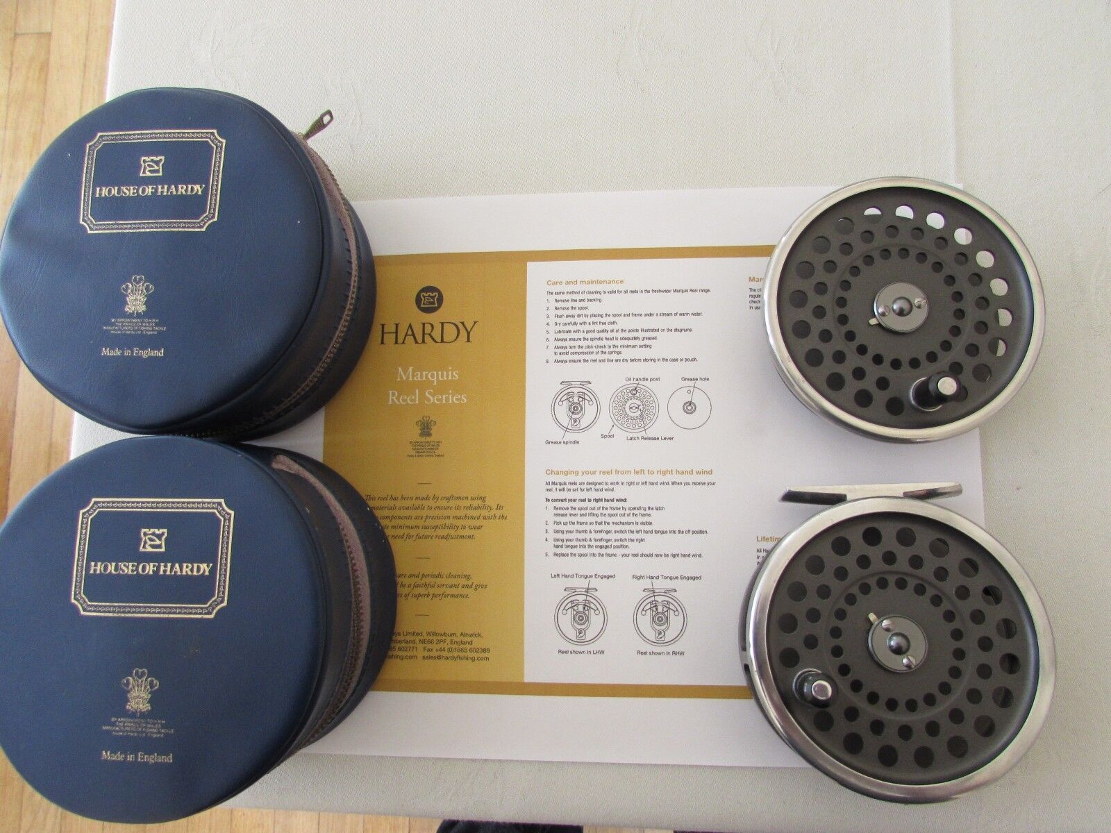 Stunning vintage Hardy Marquis 8 9 trout fly fishing reel , spool & cases etc