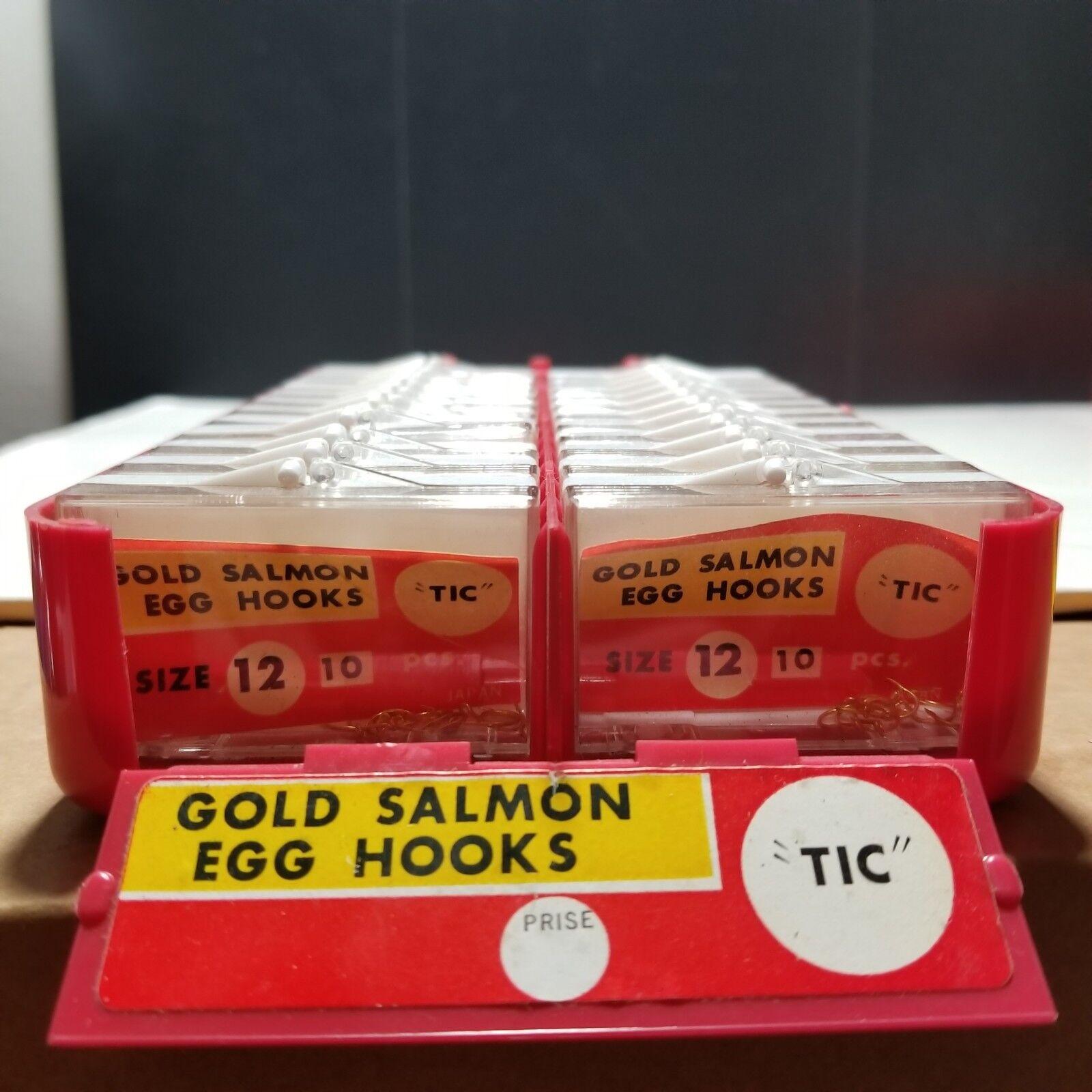 TIC oro Salmón Huevo Ganchos Tamaño 12 Japón 24 X 10 casos de Plástico Ganchos Paq De Colección Nuevo Viejo Stock
