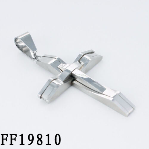 """Men Silver Byzantine Chain Stainless Steel Cross Pendant Necklace 18-36/"""" 6mm"""