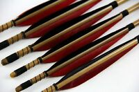 "6x Bamboo Arrows Shafts Diameter 11/32 Self Nock Points 28""-33"" For Recurve Bow"