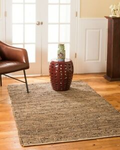 Cosmo-Brown-Jute-amp-Leather-Area-Throw-Rug-Carpet