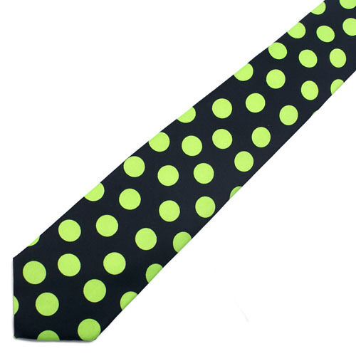 NEW Neon Green Polka Dot Black Tie NeckTie