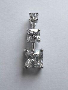 ARGENT-STERLING-trois-pierres-Zircone-taille-princesse-pendentif