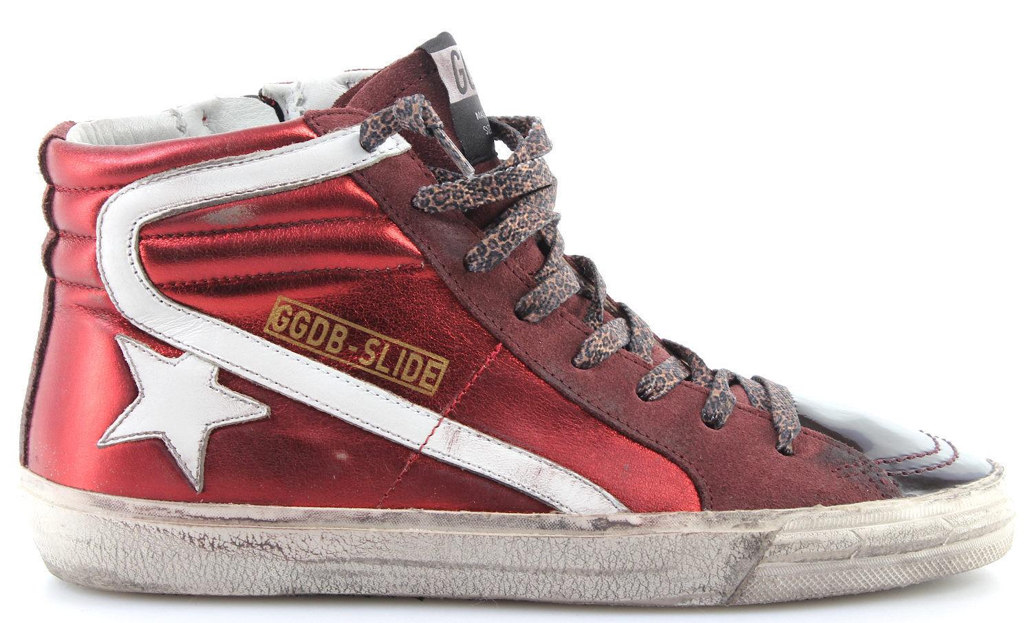 Scarpe GOOSE Sneakers Alte Donna GOLDEN GOOSE Scarpe Slide G30WS595P4 Brick Lame Bordeaux ITA 831086