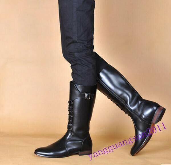 Military Mens Knee High Boots Side Zip Leather Guard Combat Riding Pointy Toe Sz
