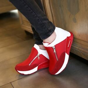 Women-039-s-Casual-Running-Sneakers-Zip-Wedge-Hidden-Heel-Sport-Shoes-Trainers