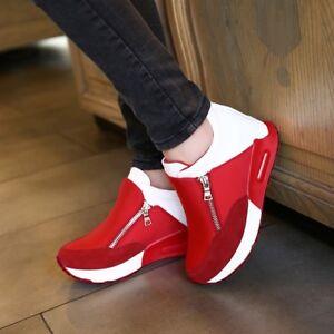 Women's Casual Running Sneakers Zip Wedge Hidden Heel Sport Shoes Trainers