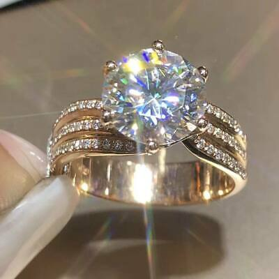 2.50Ct Round-Cut VVS1 Diamond Solitaire Engagement Ring 14K Yellow Gold Finish