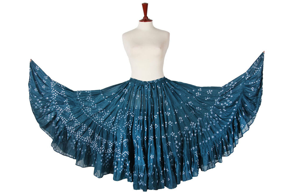 Cotton Gypsy Skirt 4 Tiered 25 Yard Skirt Tribal Belly Dance Flamenco Jupe S~3XL