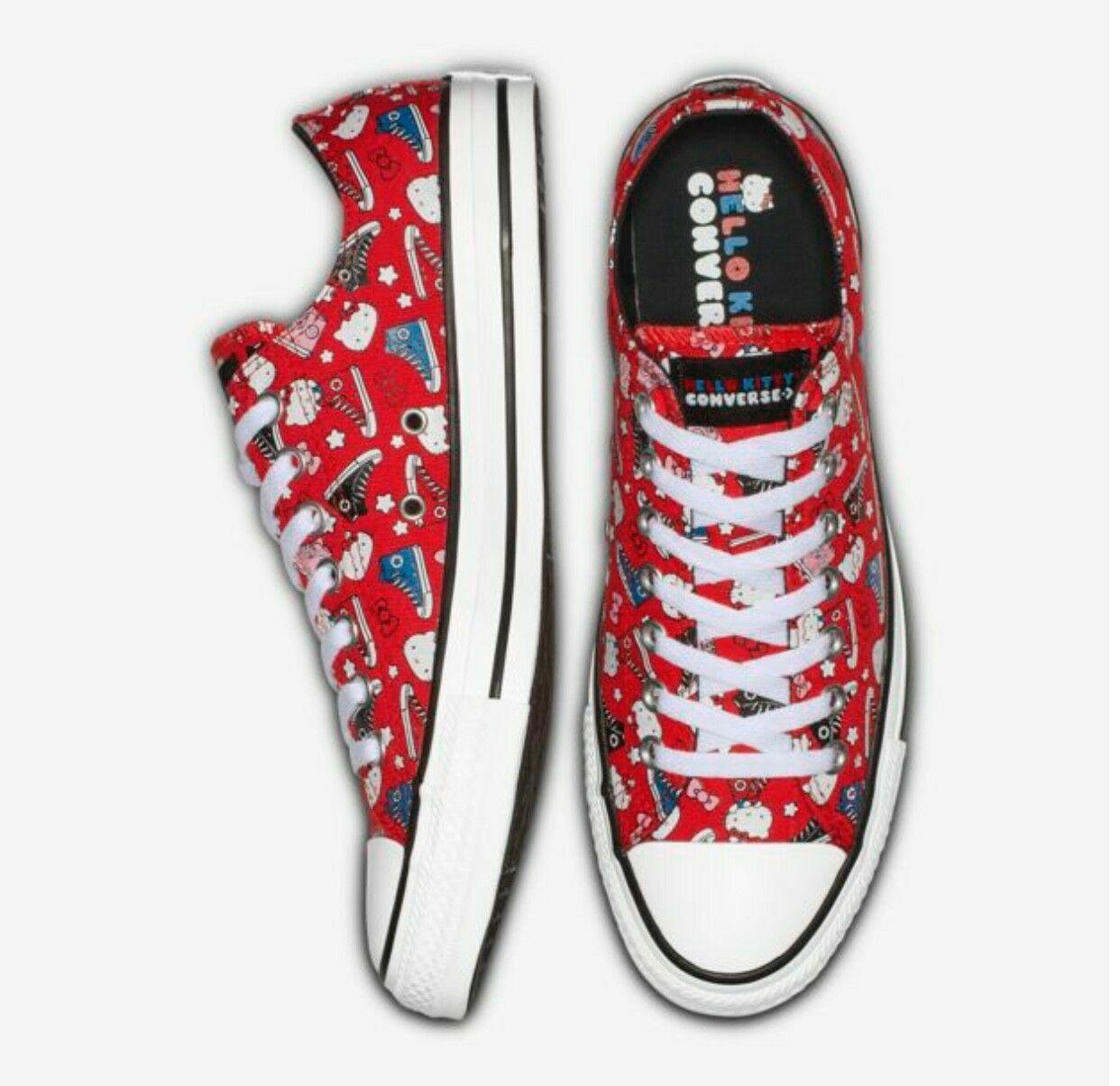 NIB Converse x Hello Kitty Chuck Taylor Low scarpe da ginnastica rosso M 6.5 7 8    W 8.5 9 10
