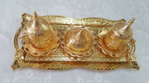 Antique Rare Hand Painted Ancient Turkish Arabic Coffee Set/&Tray Copper HANDWORK