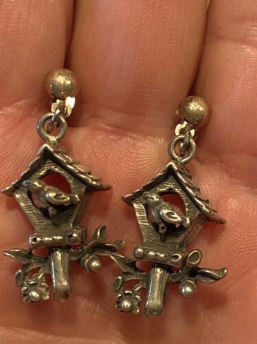 Vintage Sterling Silver Birdhouse Bird Earrings