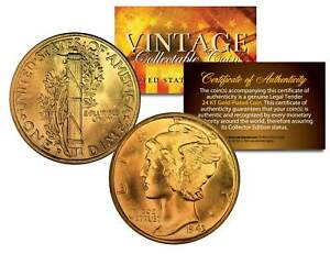 Lot-of-2-MERCURY-Silver-Dimes-US-Coins-24K-GOLD-PLATED-Winged-Liberty-w-Capsules