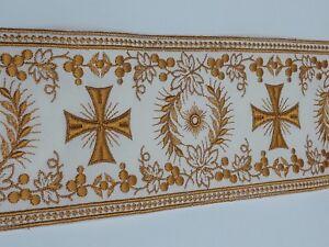Orphrey-Vintage-Cruz-Oro-amp-Apagado-Blanco-Vestment-Banda-11-4cm-Ancho-0-9m-C183