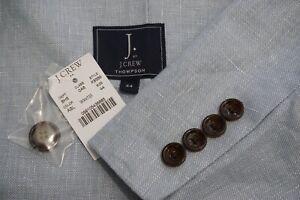 J.Crew Thompson Light Blue Linen Cotton Blend Sport Coat Jacket Sz 44 NEW W TAGS