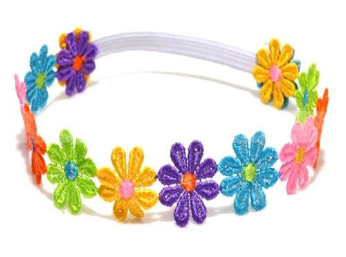 Belle enfant fille bébé coloré fleurs cheveux bande dentelle tournesol Band Bandeau