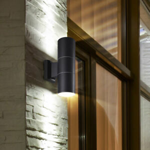 Außen Wand Fassaden Leuchte Terrassen Park Beleuchtung ALU Strahler Lampe klar