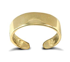 Genuine Hallmarked 375 9ct Gold Ladies Plain 5mm Flat Band Adjustable Toe Ring