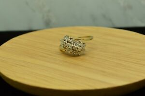 14K-YELLOW-GOLD-DIAMOND-CLUSTER-RING-BAND-0-38-TCW-SIZE-6-X14-1996