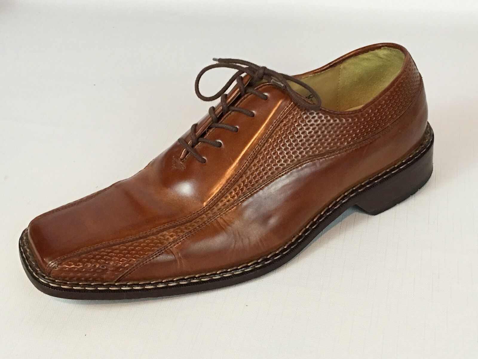 Men's STACY ADAMS Fancy Brown Leather Oxford Dress shoes 13M - Brazil - NICE