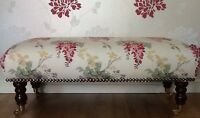 A Quality Long Footstool In Laura Ashley Wisteria Cranberry Fabric