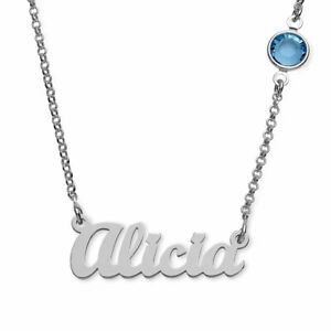 619380146 Image is loading Personalized-Name-Necklace-in-Silver-with-One-Swarovski-