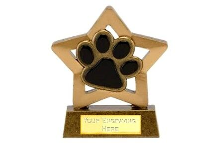 Personalised Dog Paw Trophy mini star *Free Engraving*.