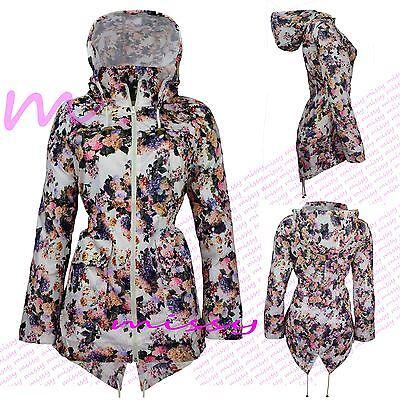 Women's Rain Mac Ladies Parka Style Fishtail Festival Raincoat Size 8 10 12 14 1
