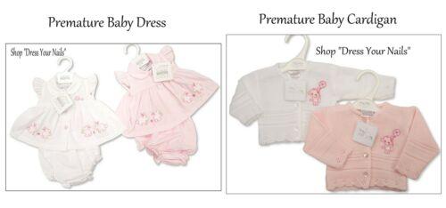 Premature Baby Dress Set NurseryTime Pink//White //// Cardigan Teddy Embroidered