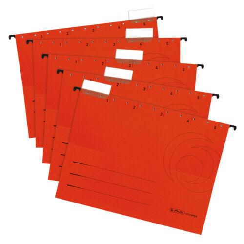 DIN A4 5 Herlitz Hängemappen Farbe rot Kraftkarton 230g//m²