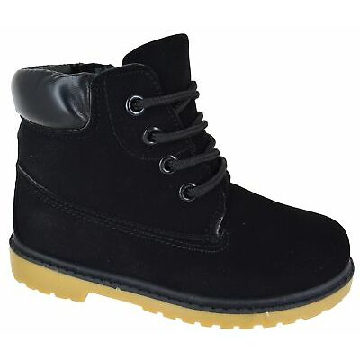 KIDS BOYS GIRLS GRIP SOLE WARM WINTER LACE UP ANKLE ZIP TRAINERS BOOTS SIZE 8-13