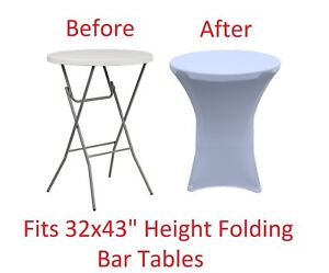 Details About Banquet Tables Pro 32 X 43 White Stretch Spandex Highboy Cover 10 Pack Lot