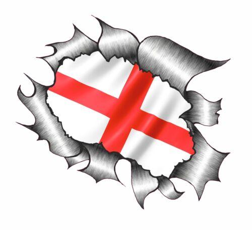 Gran aspecto de Metal RASGADO RASGADO St Georges Cruzado Inglaterra Bandera Pegatina de vinilo coche ENG