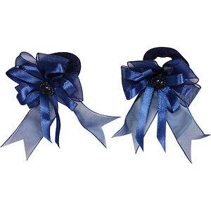 Pair-of-Small-Blue-Hair-Bow-Ribbon-Scrunchies-Elastics-Bobbles-Girls-Accessories