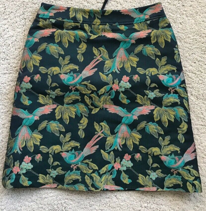 Leifsdottir Anthropologie Jacquard Shangri-La Bird Skirt 6 New