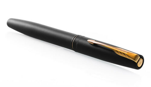 Parker Frontier Matte Black Steel CT GT Chrome Gold Trim Ink Fountain Pen New FP