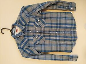 Levi-039-s-Mens-Medium-Long-Sleeve-Pearl-Snap-Blue-Plaid-Check-Western-Shirt