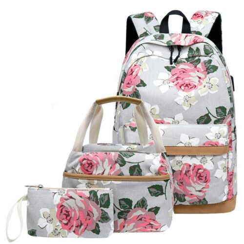 Women Floral Canvas School Backpack Book Bag USB Charge Laptop College for Girls