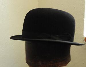 Original Vintage Gentlemen s Black Bowler Hat By Dunn   Co Size 6 7 ... a66085c4d971