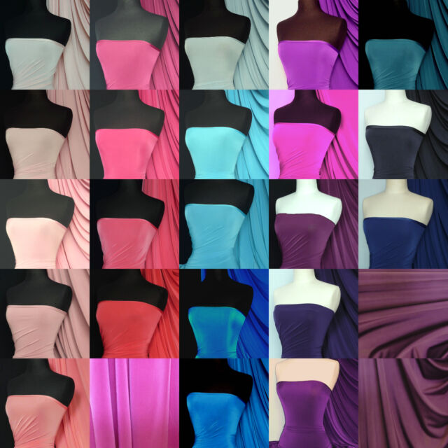 Silk touch 4 way stretch jersey lycra fabric material Q53 Blue Pink Purple